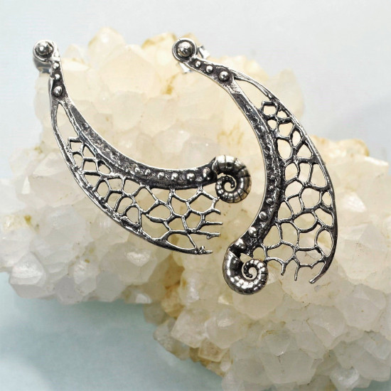 Spiders Web Handcrafted Sterling Silver Earrings