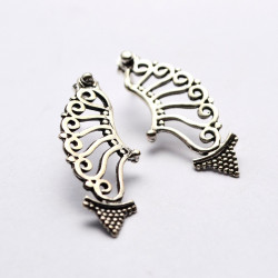 Spiral Arrow Shape Granulated Solid Silver Handmade Earrings