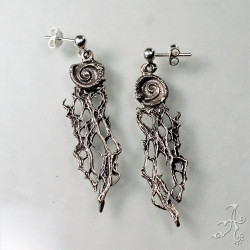 Spiral Plant Fiber Handcrafted Genuine Silver Earrings