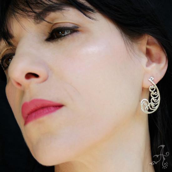 Spiral Waves Shape Genuine Silver Handcrafted Stud Earrings
