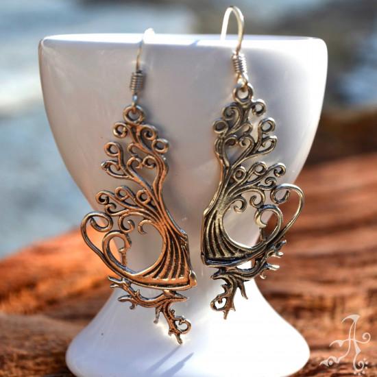 Tree of Love Long Dangle Genuine Silver Earrings