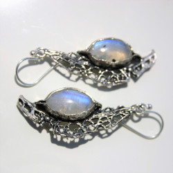 Unique Long Handmade 925 Silver Earrings with Rainbow Moonstone