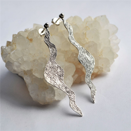 Wave Shape Textured Long Sterling Silver