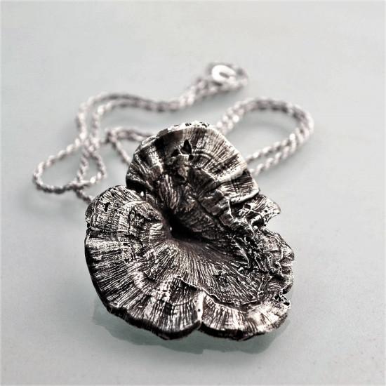Real Big Tree Mushroom Solid Silver Pendant