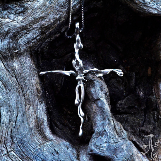 Body Figure Cross Sterling Silver Handcrafted Unisex Pendant