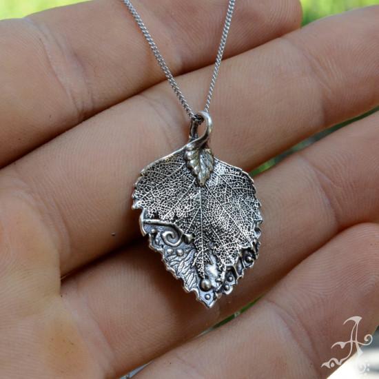Elegant  Sterling Silver Minimal Leaf Pendant