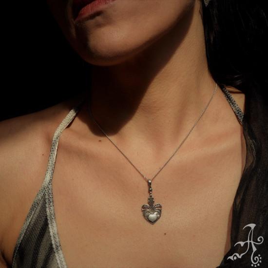 Heart Curving Handmade 925 Silver Pendant