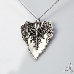 Heart Shape Sterling Silver Real Leaf Pendant