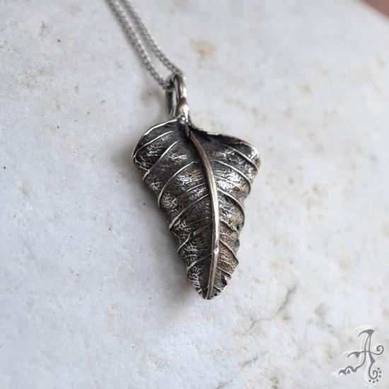 Minimal Real Leaf 925 Silver Pendant
