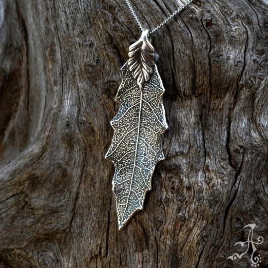 Oak Leaf Sterling Silver Organic Pendant