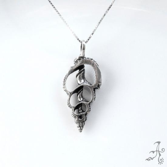 Shell Shape Sollid Silver Unisex Handmade Pendant
