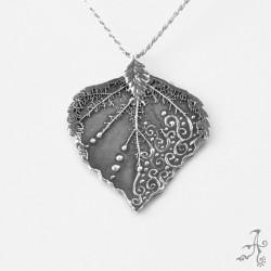 Sterling Silver Big Leaf Handcrafted Pendant