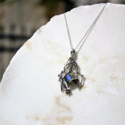 Unique Blue Fire Rainbow Moonstone  925 Silver pendant