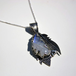 Unique Rainbow Moonstone Pendant Set in Solid Silver Leaves & a Native Indian Feather
