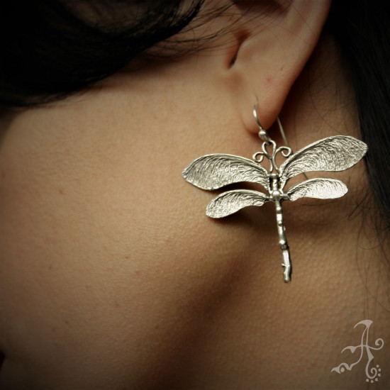 Dragonfly Earrings and Dragonfly Necklace Sterling Silver Set